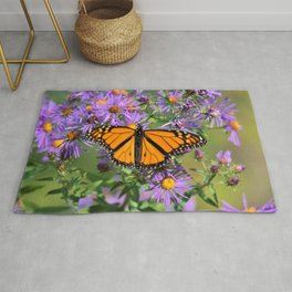 Monarch Butterfly on Wild Aster Flowers Rug