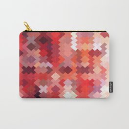 geometric square pixel pattern abstract in red and brown Carry-All Pouch