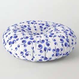Floral blue and white art Floor Pillow