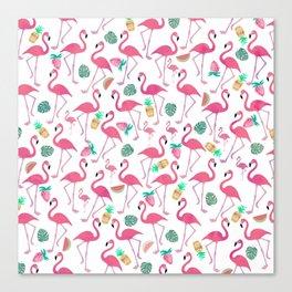 Tropical pink watercolor flamingo sweet summer fruit pattern Canvas Print