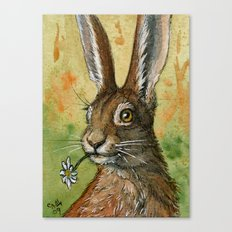 Funny Rabbits - One daisy for you 488 Canvas Print