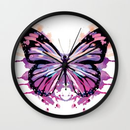 Watercolour Hues Butterfly in Pink Wall Clock