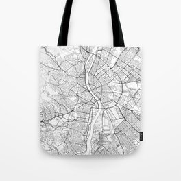 Budapest Map White Tote Bag