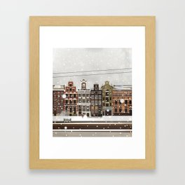 Amsterdam in the snow Framed Art Print