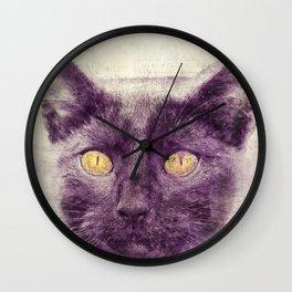 Black kitty art Wall Clock