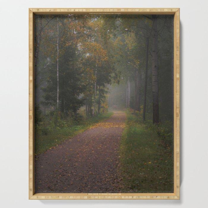 Misty autumn path Serving Tray