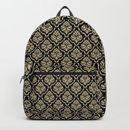 vampy damask_cream on black Backpack