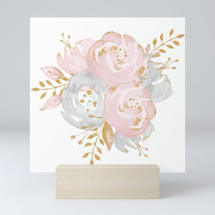Roses Gold Glitter Pink by Nature Magick Mini Art Print