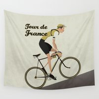 tour de france Wall Tapestries featuring Tour De France by Wyatt Design