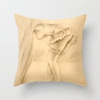 erotic Throw Pillows featuring Erotic - Girl in lingerie by Marita Zacharias