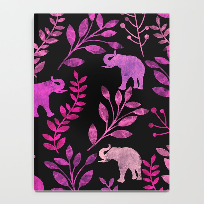 Watercolor Flowers & Elephants III Notebook