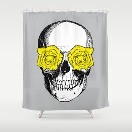 Skull and Roses | Grey and Yellow Shower Curtain