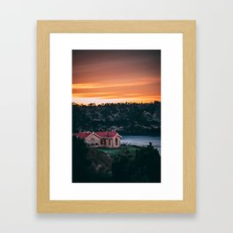 Sunrise over Lakehouse Framed Art Print