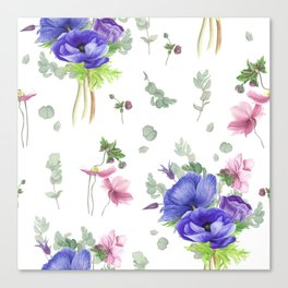 Blue and pink anemones Canvas Print