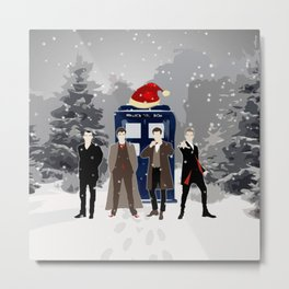 Tardis Happy Holidays Metal Print