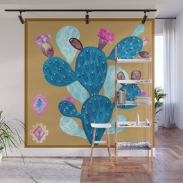 Watercolor Mexican cactus with folk flowers aztec tiles Wall Mural