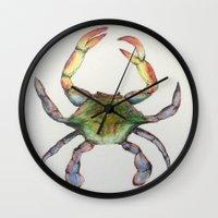 crab Wall Clocks featuring Crab by Sara Katy
