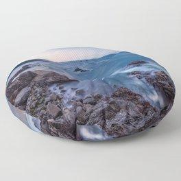 Rocky Shore - Waves Crash on Rocks Along Coast at Big Sur Floor Pillow
