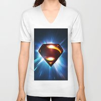 man of steel V-neck T-shirts featuring Man of Steel Logo by taylorwayne93