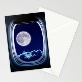 Airplane window with Moon, porthole #3 Stationery Cards