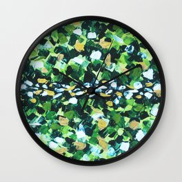 Colorful Green Abstract Painting Wall Clock