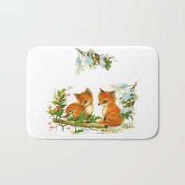 Vintage dream- little Winterfoxes in snowy forest Bath Mat
