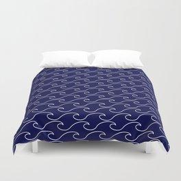 Sea Waves - white on darkblue pattern - Martitime Design Duvet Cover