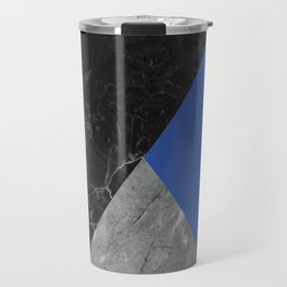 Black and White Marbles and Pantone Lapis Blue Color Travel Mug