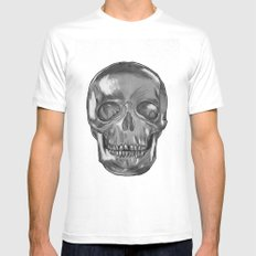 grungy skull Mens Fitted Tee White MEDIUM