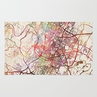 austin Area & Throw Rugs featuring Austin by MapMapMaps.Watercolors