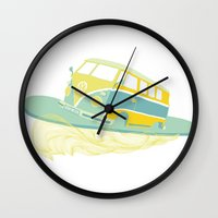 surf Wall Clocks featuring Surf by Julia Brnv