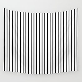 Large Black Pinstripe On White Wall Tapestry