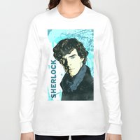 sherlock holmes Long Sleeve T-shirts featuring Sherlock Holmes by illustratemyphoto