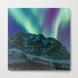 Aurora Borealis Over Mountains Metal Print