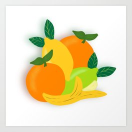 Citrus Fruit Drawing Art Print