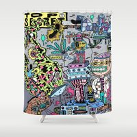 skateboard Shower Curtains featuring How It's Made: Skateboard Edition by Frenemy