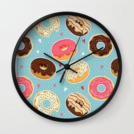 Donut - Doughnut - Bagel - Pattern - Polka Dot Wall Clock
