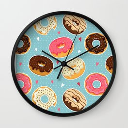Donut - Doughnut - Bagel - Pattern - Polka Dot Wall Clock