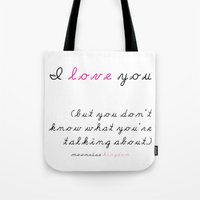 wes anderson Tote Bags featuring Moonrise Kingdom Wes Anderson Movie Quote by FountainheadLtd
