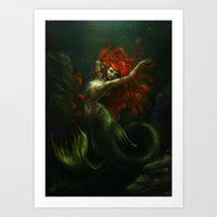 the little mermaid Art Prints featuring Little Mermaid by Caroline Jamhour