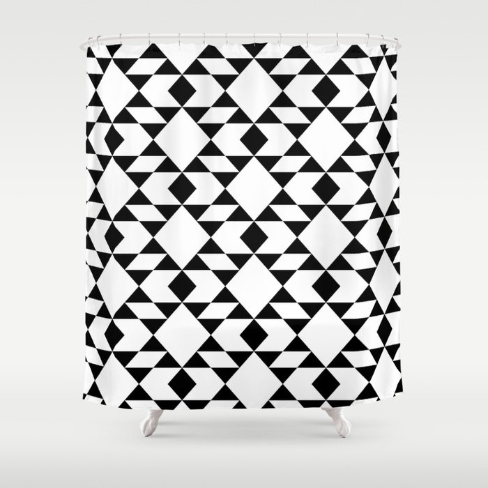 Black And White Navajo Inspired Geometric Shower Curtain By Foxandrebel