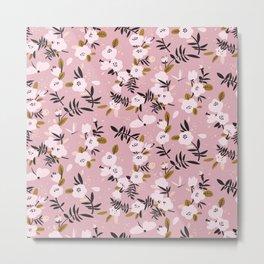 Tender spring cherry blossom on pink  Metal Print
