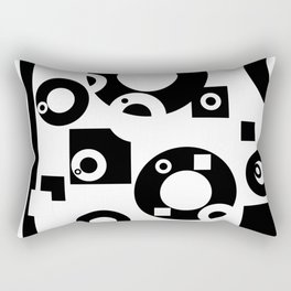 Black& White Rings Rectangle Rectangular Pillow