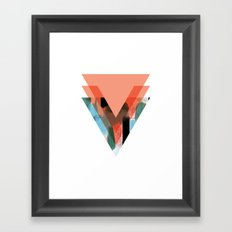 Three Triangles Geometric in Coral Framed Art Print