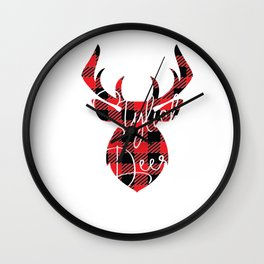 Stylish Deer Christmas Pajama Red Plaid Buffalo Matching print Wall Clock