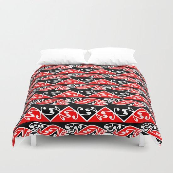 Kowhaiwhai Traditional Maori Koru Pattern Duvet Cover