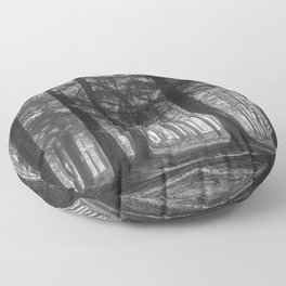 Black and white woods - North Kessock, Highlands, Scotland Floor Pillow