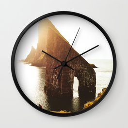 camping at the faroe islands Wall Clock