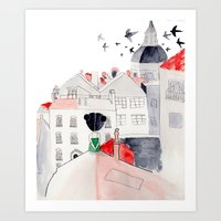 madrid Art Prints featuring Madrid by sole silbando