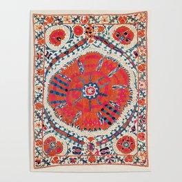 Large Medallion Suzani Bokhara Uzbekistan Embroidery Print Poster